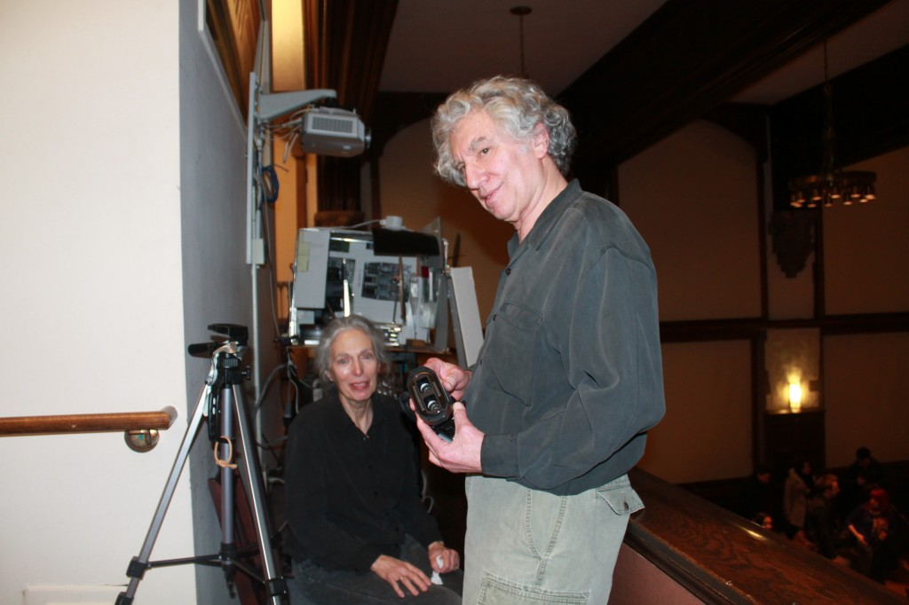 Flo and Ken Jacobs with the apparatus for their Nervous Magic Lantern Performance