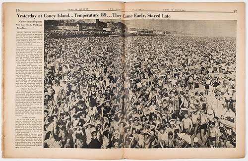Coney Island, July 21, 1940.  Weegee's photograph appeared in PM in following day.