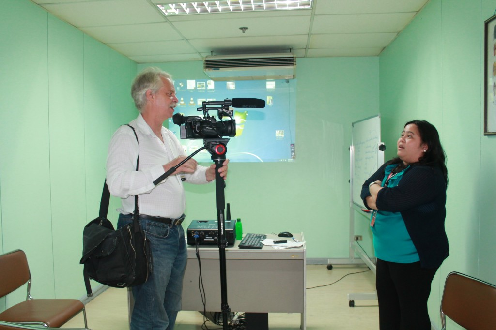 Filming Ivy Miravalles, Supervisor of the Commision of Filipinos Overseas