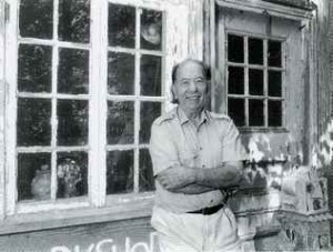 Gerry Williams outside his studio, Dunbarton New Hampshire