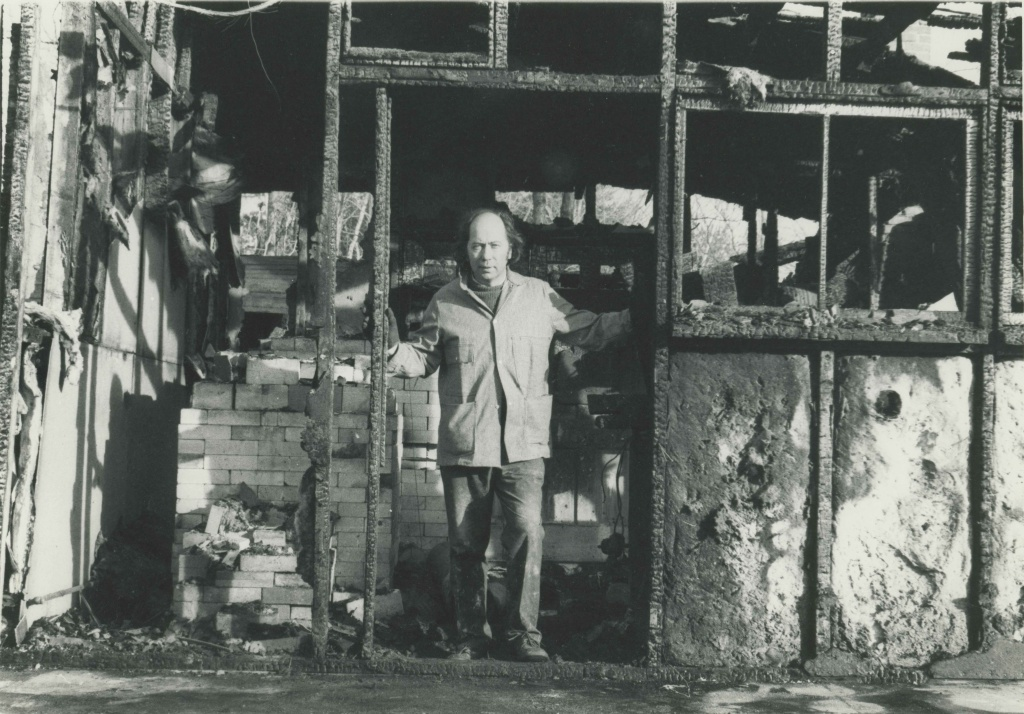 Gerry in his studio, which was totally destroyed by fire--started by his kiln.