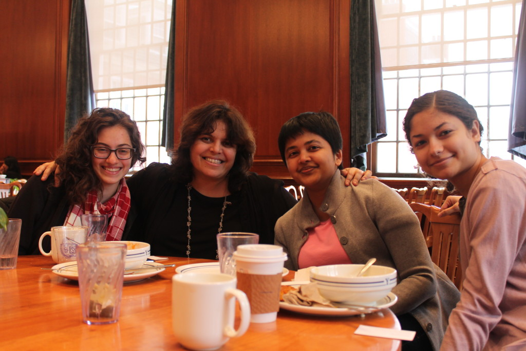 Judith Helfand having lunch with three students from Documentary and the Environment: Samantha  Lichtin, Ila Tyagi, and Tasnim Elboute